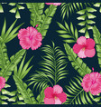tropical leaves and flowers seamless black vector image vector image