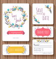wedding invitation card set thank you card save vector image vector image