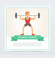 young man exercising with barbell fitness studio vector image