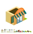 isometric market building icon vector image