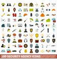 100 security agency icons set flat style vector image vector image