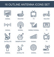16 antenna icons vector image vector image