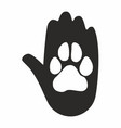 a hand and a paw icon vector image