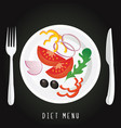 a plate with the vegetables on a black background vector image vector image