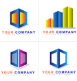 Abstract colored cube logo set vector image