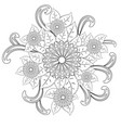 black and white circle flower ornament ornamental vector image