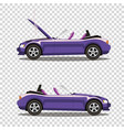 broken violet cabriolet sport cartoon car with vector image