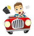 businessman driving car fast vector image