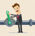 businessman open crane of oil and gas industry oil vector image