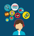 buy on line with salesman agent vector image