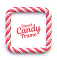 candy cane square frame on white background vector image vector image