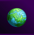cartoon planet with continents seas and oceans vector image