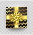 christmas gift box present zigzag golden ribbon vector image vector image