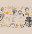 coffee and bakery restaurant menu vector image vector image