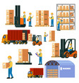 colorful logistic warehouse set vector image