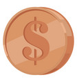 copper coin with dollar sign flat icon vector image