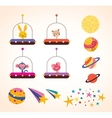 Cute animals in space ships kids design elements vector image