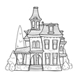 Cute black and white house vector image