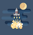 cute cartoon space rocket and moon on blue vector image