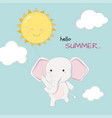 cute elephant hello summer banner hand drawn style vector image vector image