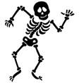 dancing skeleton silhouette vector image
