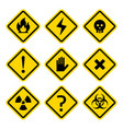 danger rhombus yellow warning signs vector image