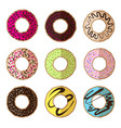 donut minimalistic flat set vector image vector image