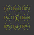flat outline icons of special transport vector image vector image