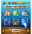 Game template with fish in the sea vector image vector image