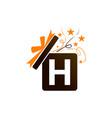gift box ribbon letter h vector image vector image