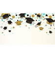 graduation word with graduate cap black and gold vector image vector image