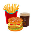 hamburger fried potatoes in red package and cup vector image vector image