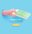 hand holding mobile phone with dollar bill vector image vector image