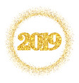 happy new year shiny gold number 2019 circle