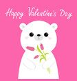 happy valentines day cute white bear holding vector image vector image