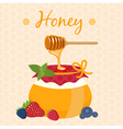 honey pot and honey dipper vector image