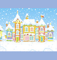 houses of a small town on a snowy day vector image