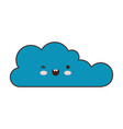 kawaii cloud icon flat in colorful silhouette vector image vector image