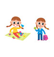 little girl playing at home and going to school vector image vector image