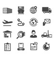 logistic black and white glyph icons set vector image vector image