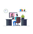 man is working at his laptop vector image vector image