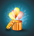 open gift box with balloons and magic light vector image vector image