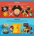 pirate captain cartoon banners vector image