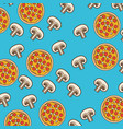 pizza and mushroom pattern colorful in blue vector image vector image