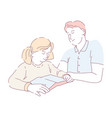 reading book father doing homework assignment with vector image