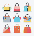 retro colorful women handbags and purse set vector image vector image