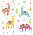 seamless pattern with cute llamas vector image vector image