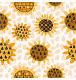 seamless pattern with sunflower and seeds vector image