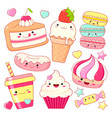 set of cute sweet icons in kawaii style vector image vector image