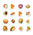 set of fast food icons junk food vector image vector image